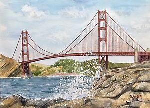 300x215 R. Sheer Original Watercolor Painting, Golden Gate Bridge, San