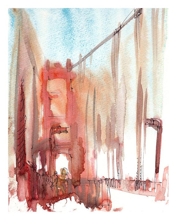 570x713 San Francisco Fog Golden Gate Bridge , An Impressionistic