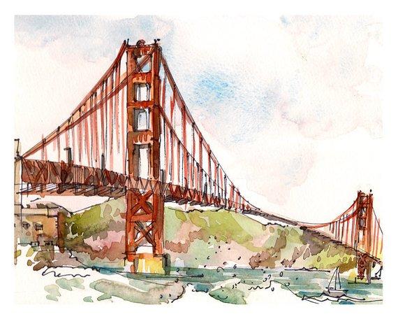 570x456 San Francisco Golden Gate Bridge California Print Of A Etsy
