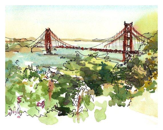 570x456 San Francisco Golden Gate Bridge California Watercolor Sketch Etsy