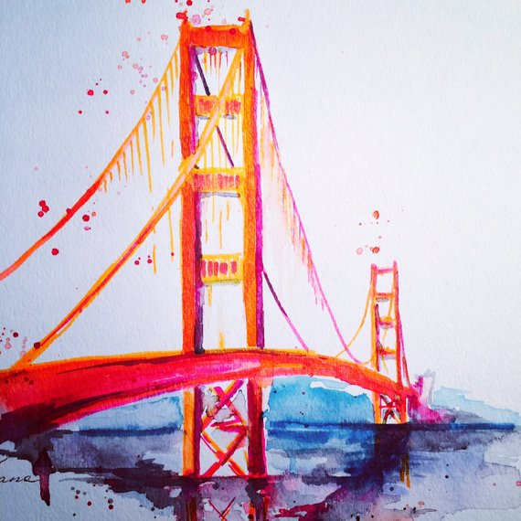 570x570 San Francisco Golden Gate Bridge Travel Watercolor Etsy