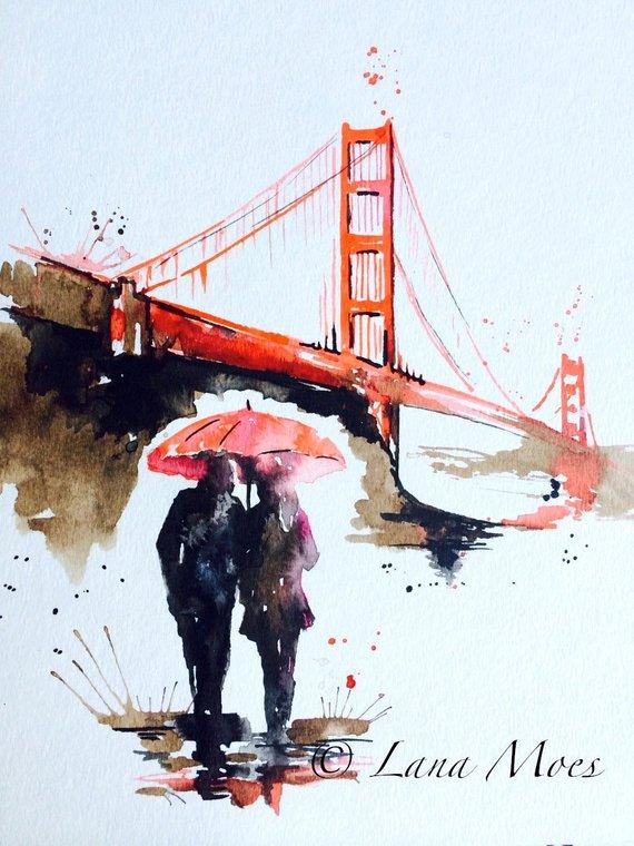 570x760 San Francisco Love Golden Gate Bridge Travel Watercolor Etsy