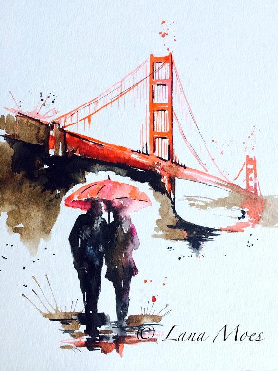 570x760 San Francisco Love Golden Gate Bridge Travel Watercolor