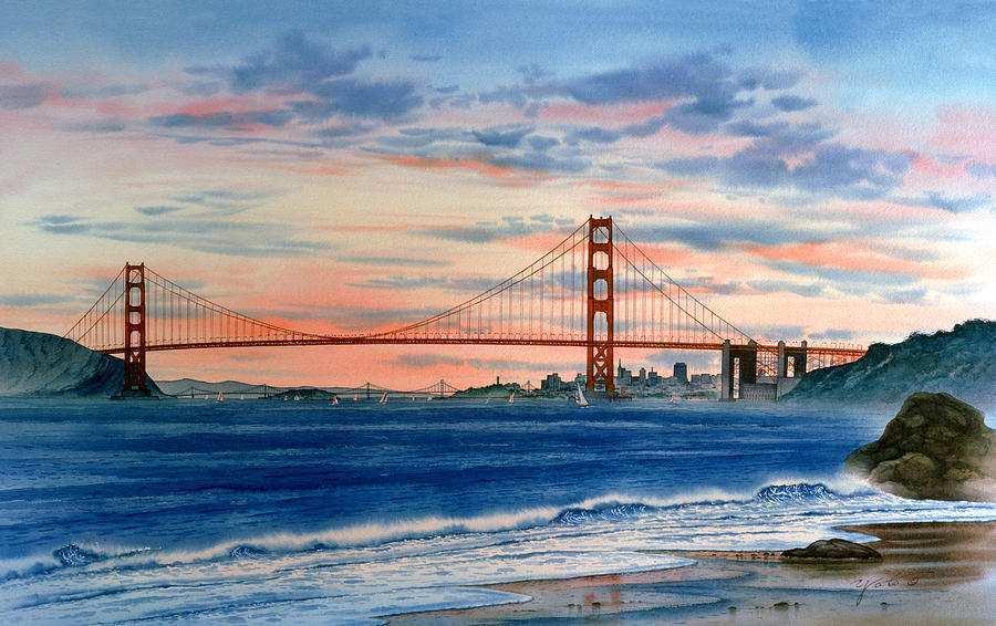 900x566 San Francisco Painting Unique Sunset
