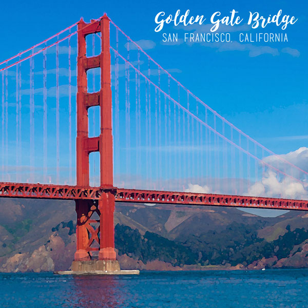 600x600 Scrapbook Customs Left Watercolor Golden Gate Bridge Paper