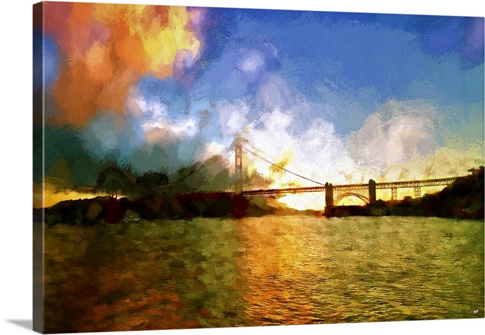 1000x690 Watercolor Golden Gate Bridge Ii, San Francisco Painting Series