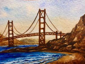 300x225 Watercolor Painting Golden Gate Bridge California Ocean Nature
