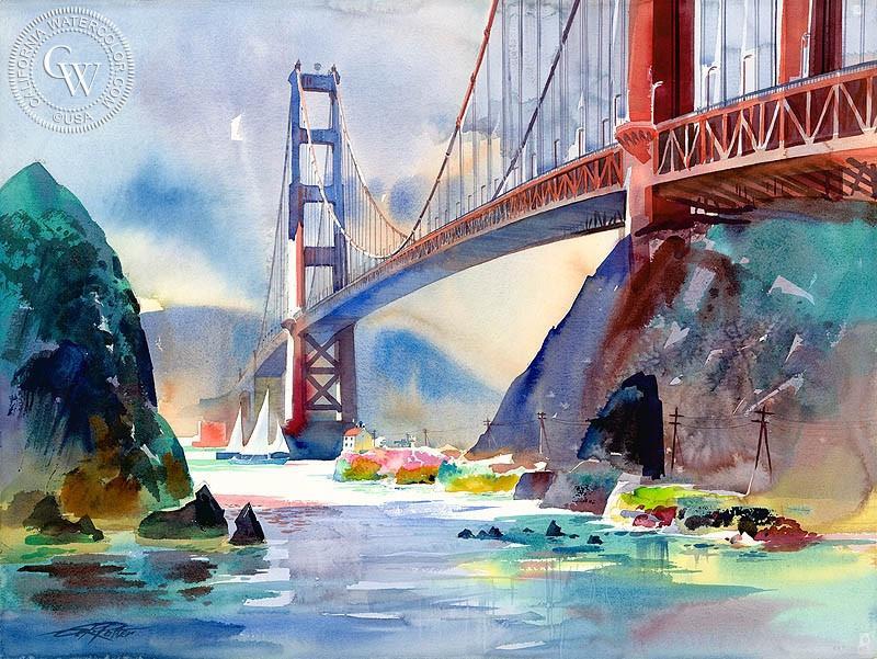 800x601 Golden Gate, 1997, Art By Ken Potter California Watercolor