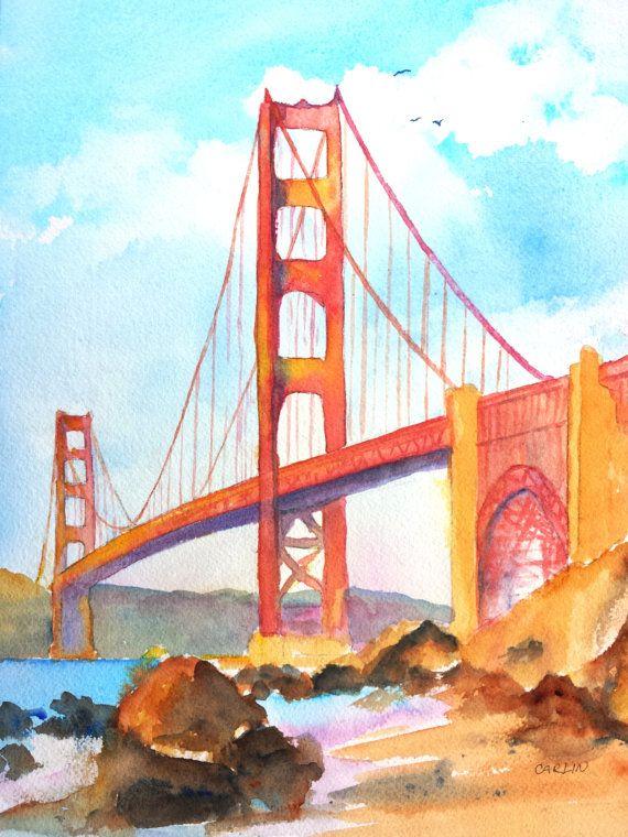 570x760 Golden Gate Bridge, Original Watercolor Painting, 9x12 Inch, San