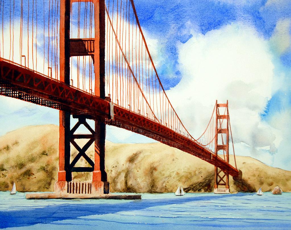 1024x808 Golden Gate Bridge, Watercolor 11 X 15 Here Is My