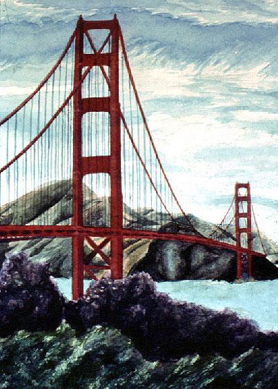 403x563 Golden Gate Bridge, Watercolor Painting