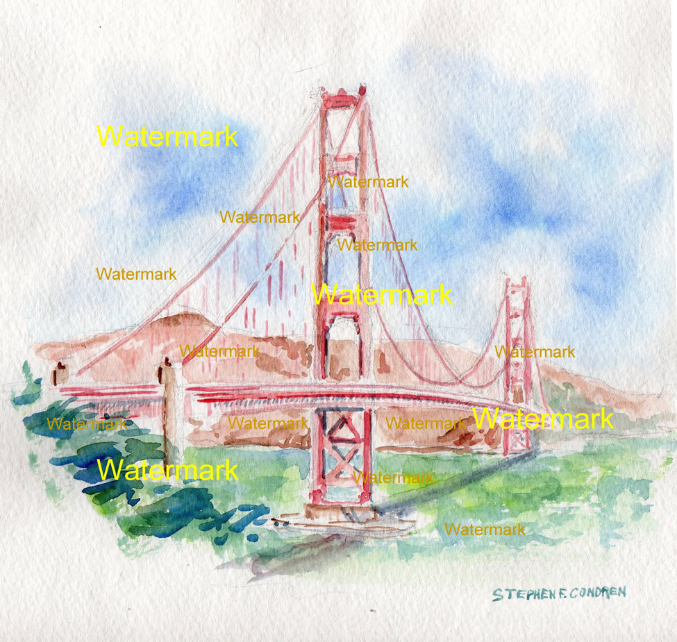 975x925 Golden Gate Bridge Watercolor Painting As Seen From San Francisco