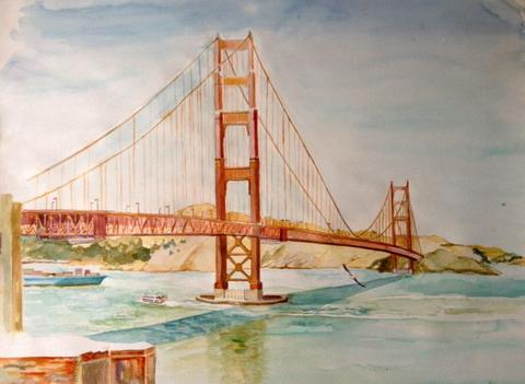 480x351 Golden Gate Bridge With Barge Maryclairewellinger