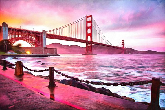 570x380 California Watercolor Painting West Coast Oil Acrylic Wall Art Etsy
