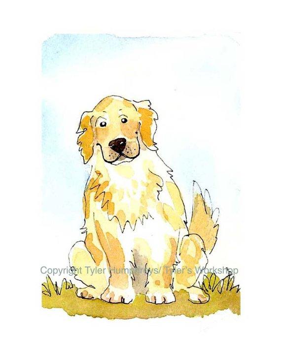 570x713 Golden Retriever Dog Print Funny Golden Retriever Watercolor Etsy