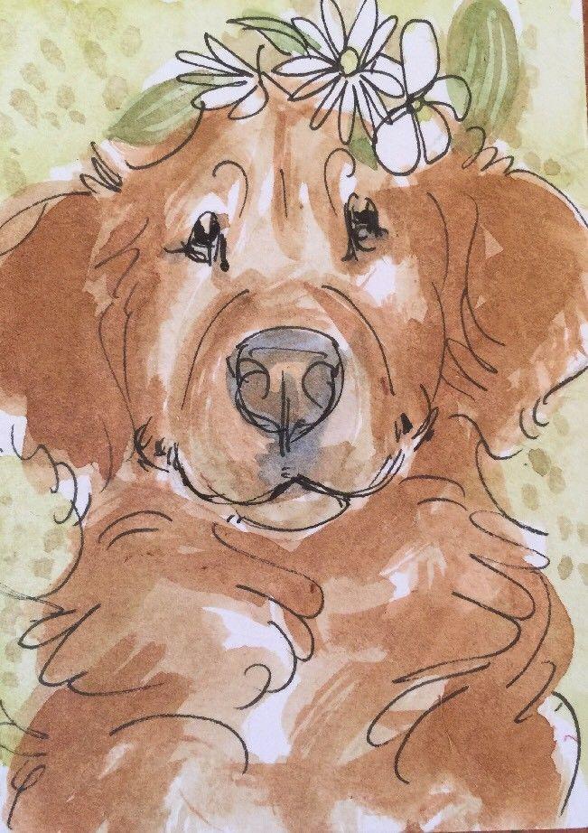 651x922 Aceo Golden Retriever Rose Head Wreath . A Watercolor Original Art