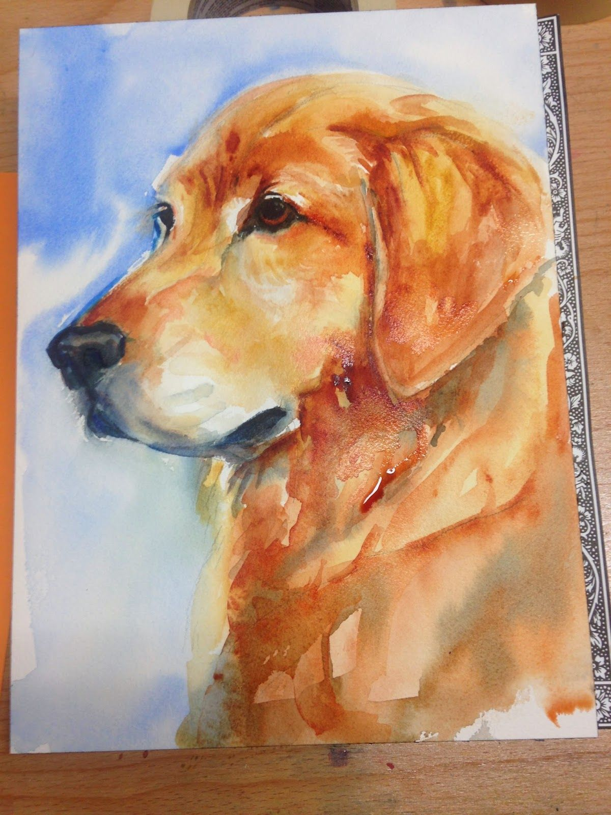 1200x1600 Image Result For Golden Retriever Water Color Paintings