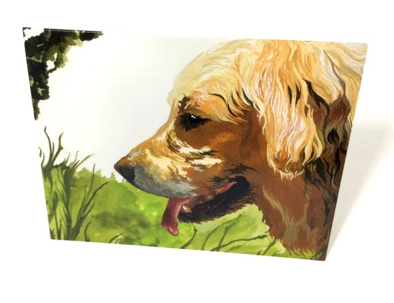 570x439 Watercolor Golden Retriever Stationery Blank Cards