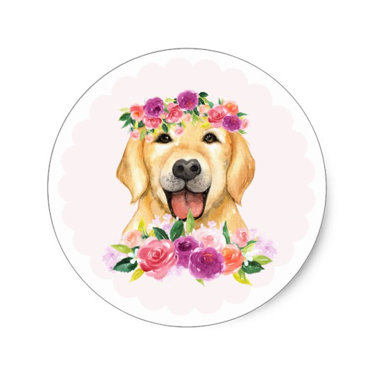 540x540 Watercolor Golden Retriever With Floral Crown Classic Round