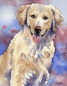 234x300 Golden Retriever Dog Watercolor 8 X 10 Art Print Signed By Artist