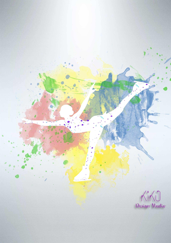 2121x3000 Golf Wall Decor New Figure Ice Skate Watercolor Wall Art Art Print