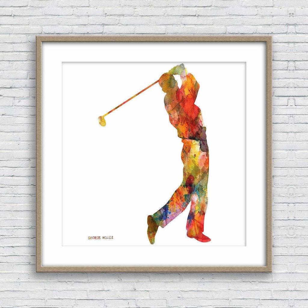 1024x1024 Watercolor Print, Golf, Wall Art, Abstract Print, Art Print
