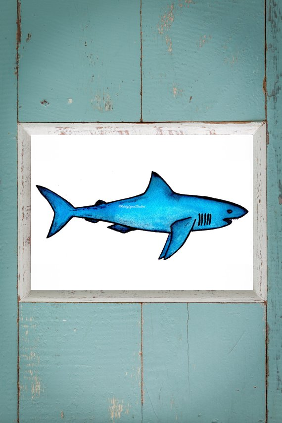 570x855 Great White Watercolor Great White Shark Watercolor Art