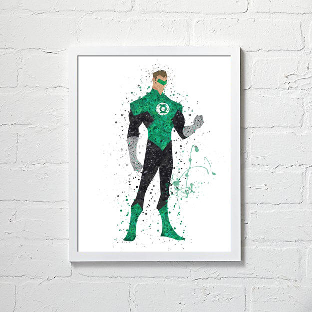 625x625 Green Lantern Wall Art Green Lantern Watercolor Green Lantern Etsy