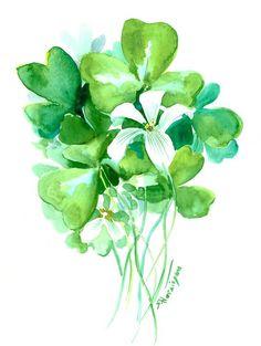 Green Watercolor Flowers