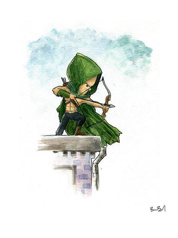 570x760 Green Arrow Comic Book Watercolor Painting Print Illustrations