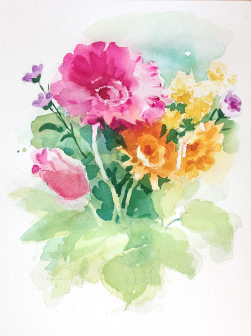 500x669 Painting Flowers In Watercolor From Life