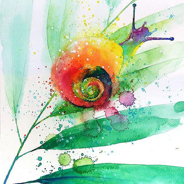 605x605 Splashed Watercolor Paintings By Tilen Ti Bored Panda