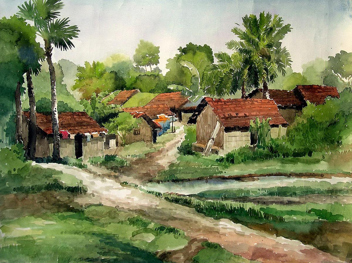 1200x896 Village Scene By Artist Sankar Nag Impressionism, Painting