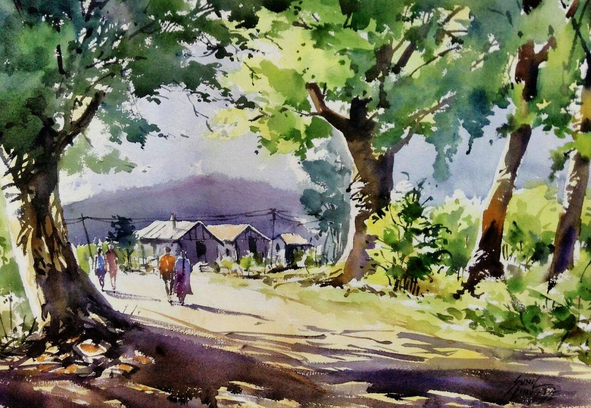 1200x829 Village Scene By Artist Sunil Linus De Impressionism, Painting