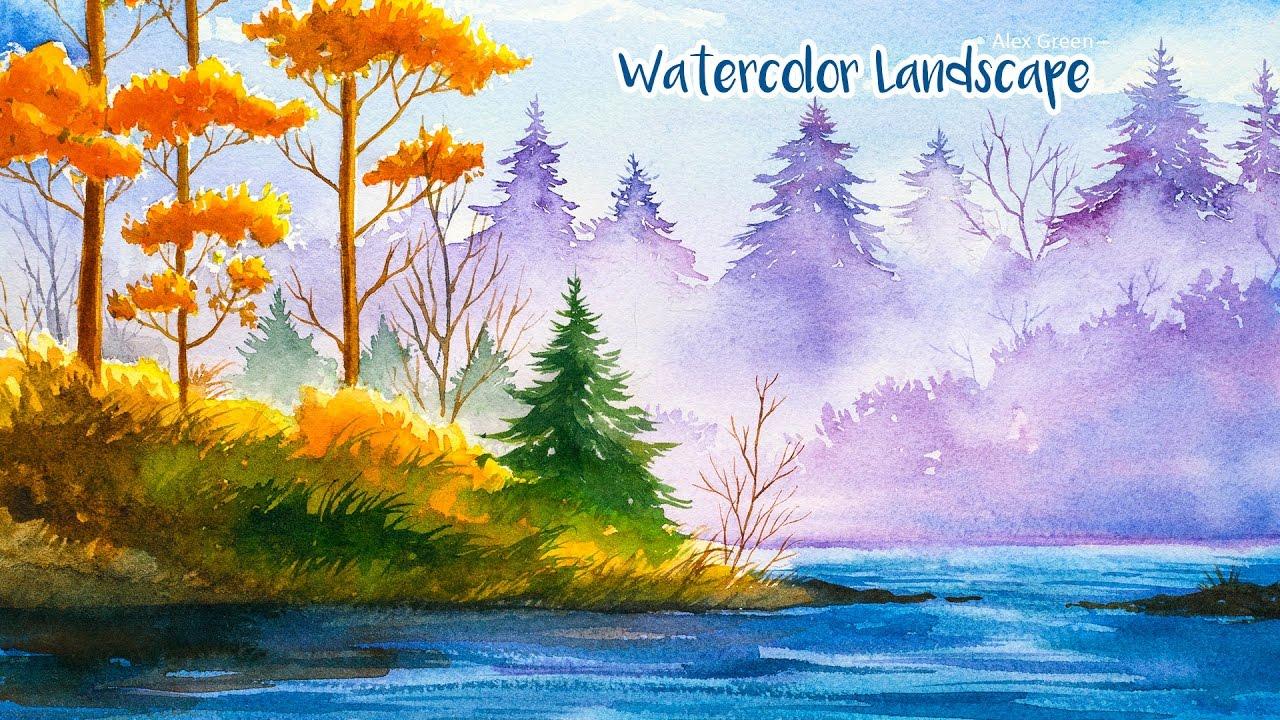 1280x720 Watercolor Autumn Landscape