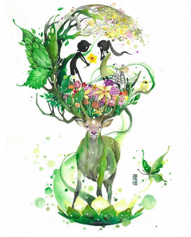660x819 Deer Watercolor Painting By Luqmanreza 10