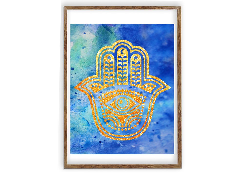 1000x707 Hamsa Hand, Wall Art Print, Watercolor Wall Art, Yoga Studio Decor