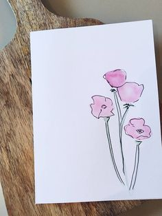 236x314 Hand Painted Watercolor Greeting Card Blooming Tree. Original