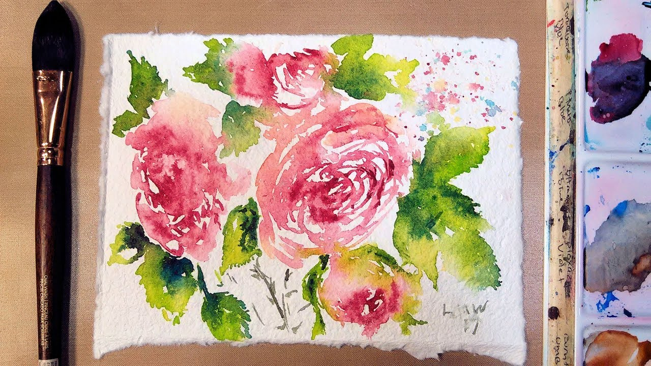 1280x720 Loose Roses On Recycled Handmade Watercolor Paper From India