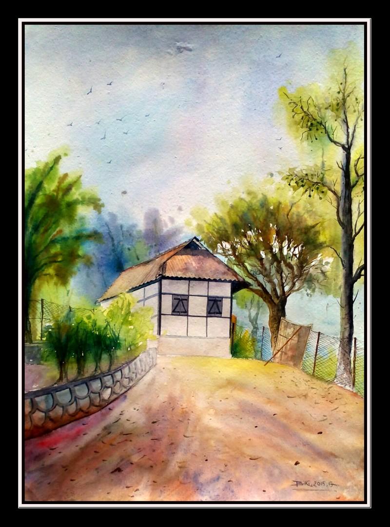 800x1081 One Of House..hill Area By Artist Biki Das Landscape Art