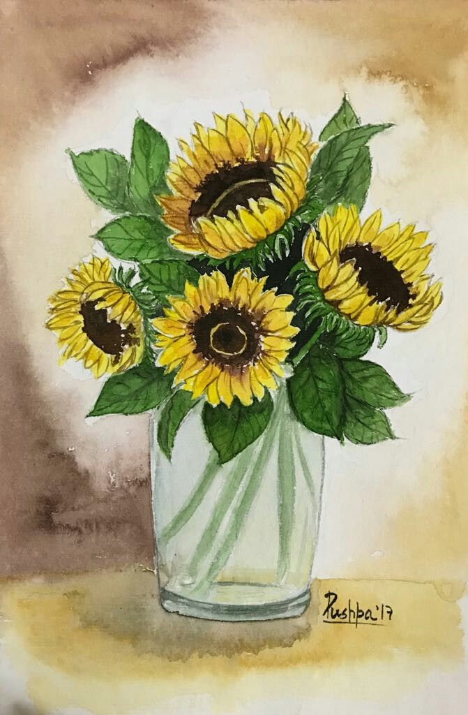671x1024 Sunflowers Handmade Watercolor Painting On Handmade Paper By