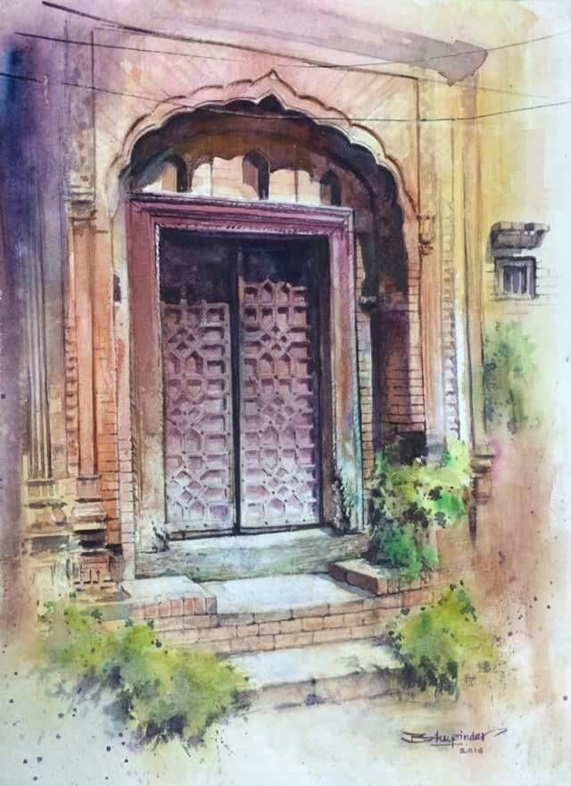 640x880 The Antique Door, Bhupinder Dhutti, Watercolor On Handmade Paper