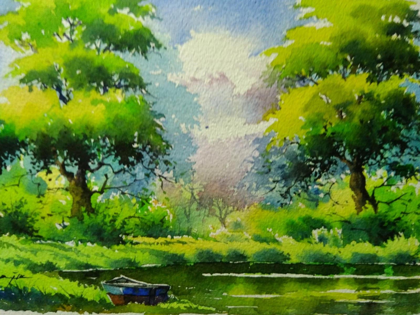 1600x1200 Watercolor Landscape On Handmade Paper
