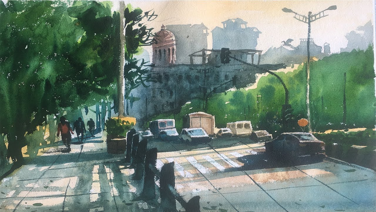 1280x720 Watercolor Painting On Handmade Paper Watercolor Painting On The