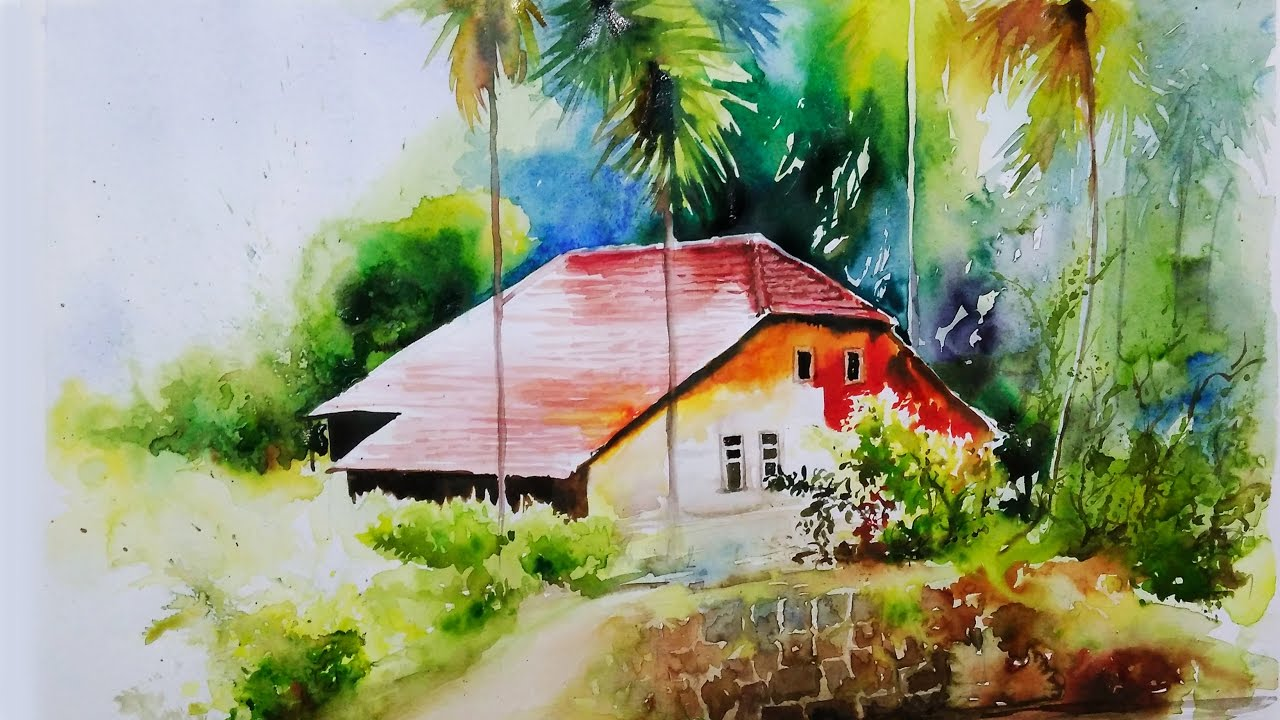1280x720 Watercolor Painting Tutorial For Beginners Landscape Village