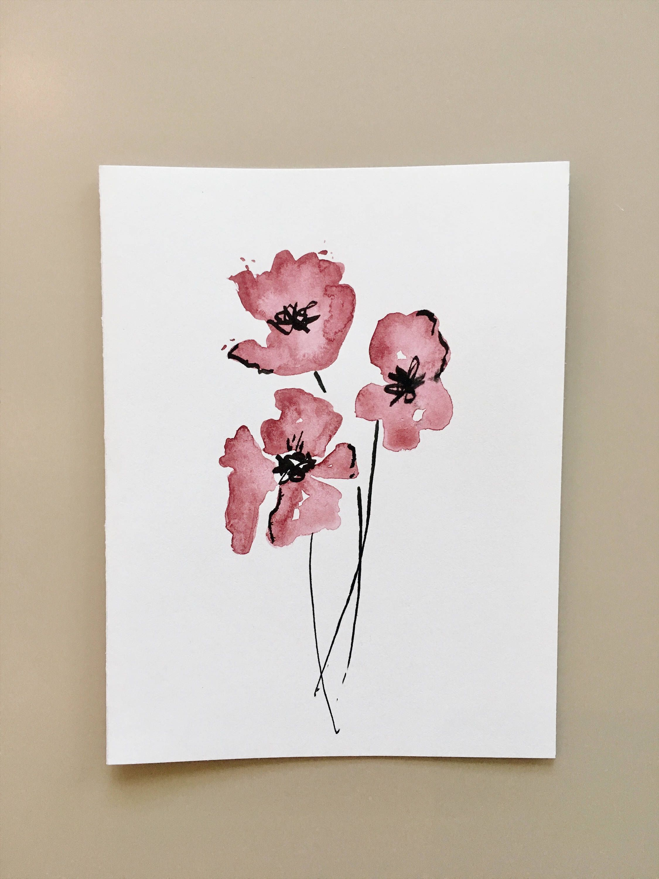 2250x3000 Flower Watercolor Greeting Card, Hand Painted Card, Handmade