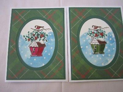 400x300 Handmade Watercolor Christmas Birdhouse Cards Set Of 6 Cards U
