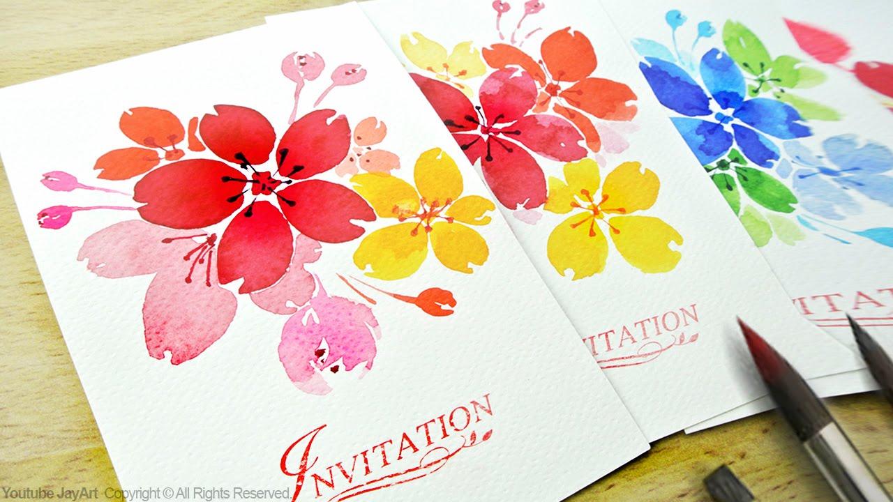 1280x720 Watercolor Floral Invitations Diy Handmade Cards