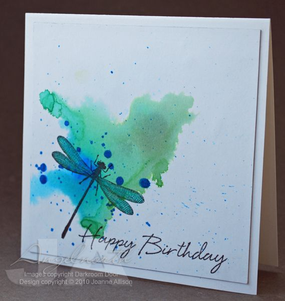 569x600 Handmade Card Dragonfly Birthday By Angelnorth Watercolor