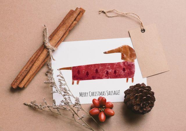 640x451 Cute Handmade Watercolour Dachshund Christmas Card Sausage Dog Ebay